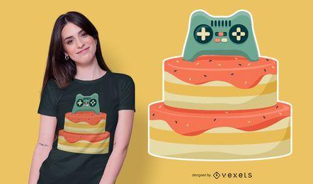 Diseño de camiseta de pastel de cumpleaños de controlador