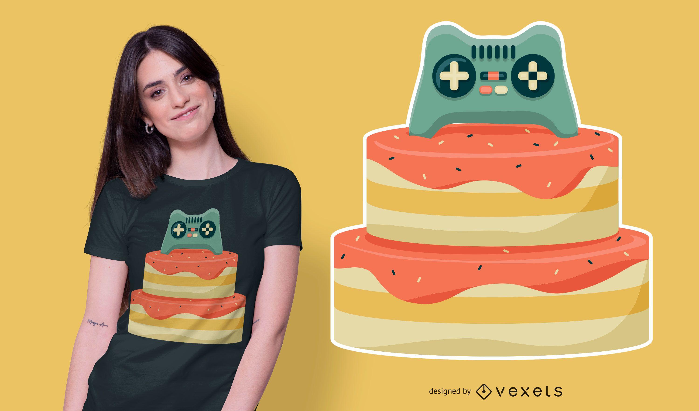 Controller Birthday Cake T-shirt Design