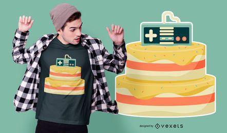 Design de t-shirt de bolo de jogos