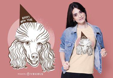 Diseño de camiseta de año nuevo de caniche