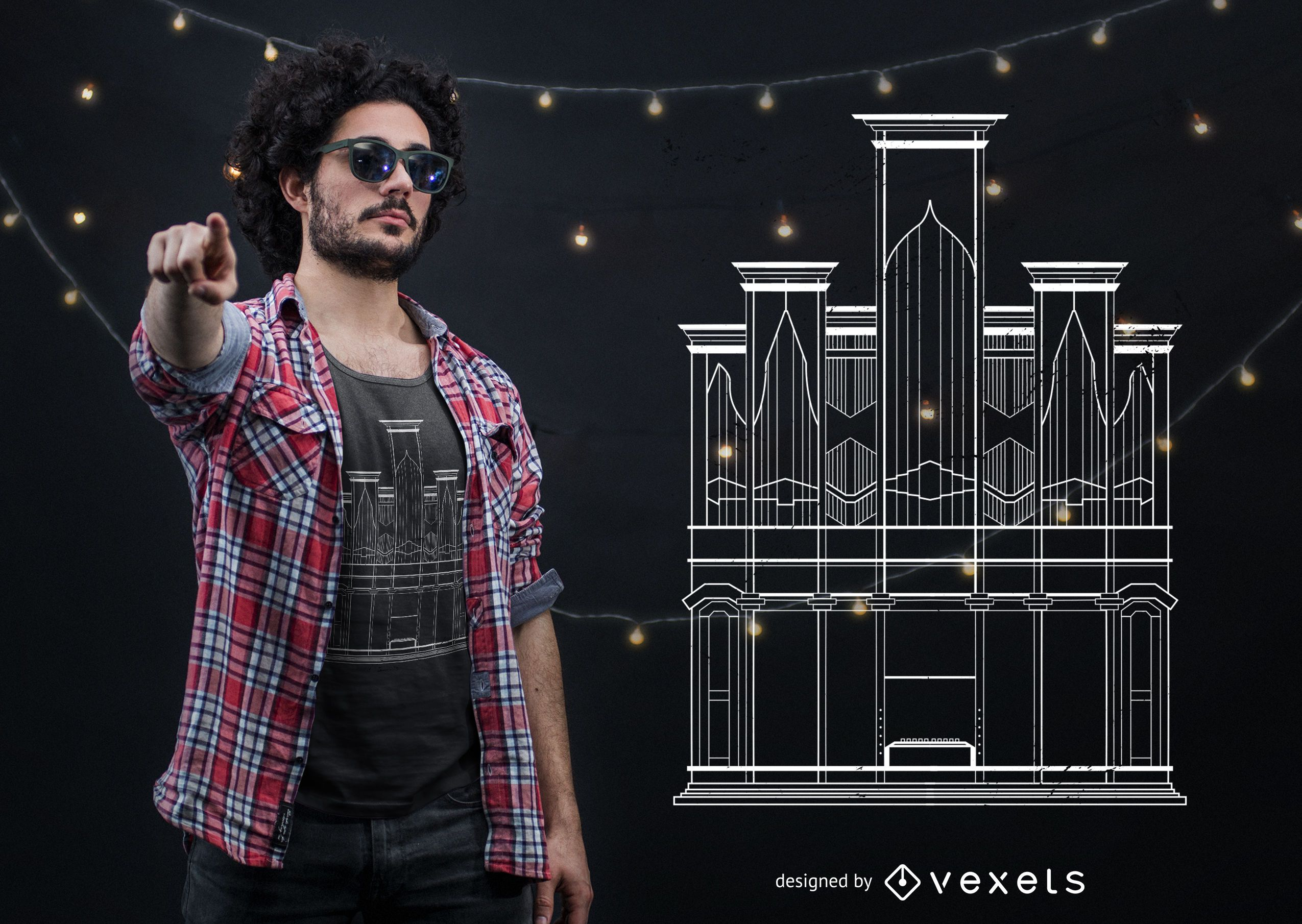 Diseño de camiseta de órgano de iglesia
