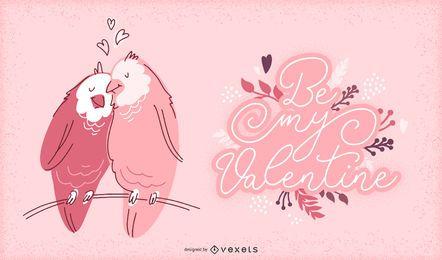 Ilustração de pássaros dos namorados