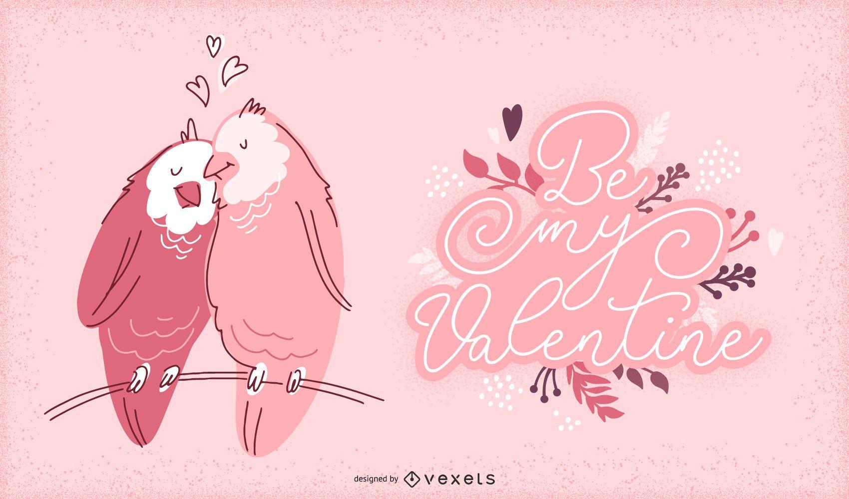 Ilustración de pájaros de San Valentín
