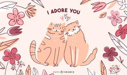 Ilustração de gatos dos namorados