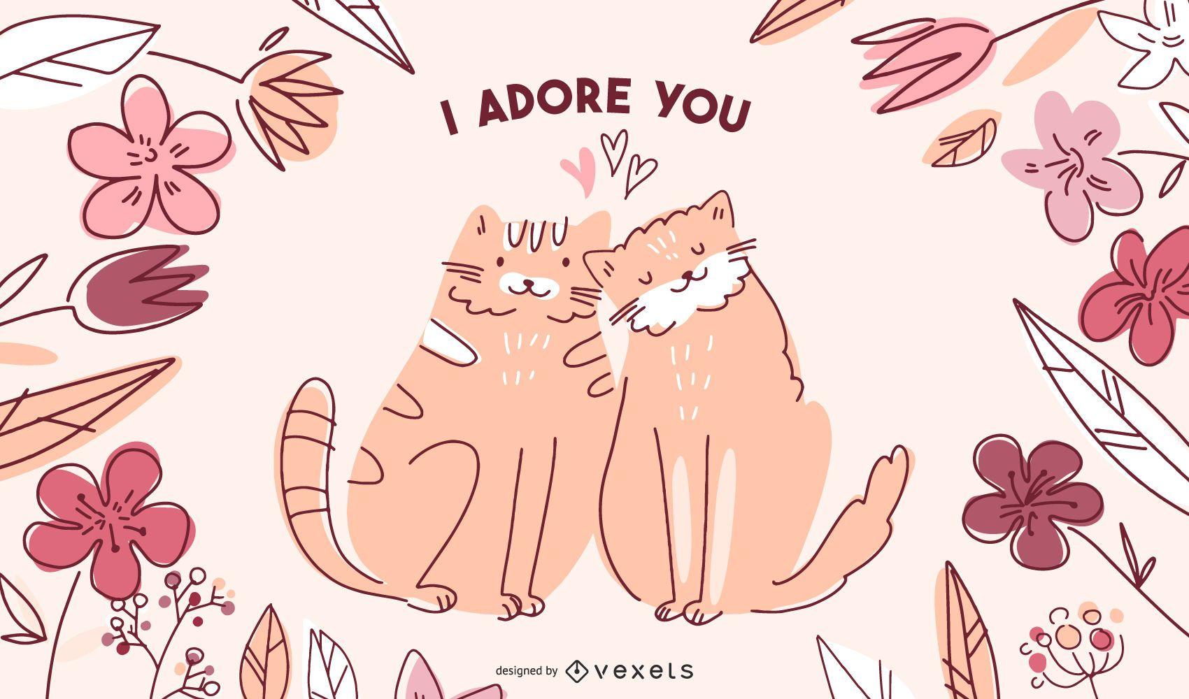 Ilustración de gatos de San Valentín