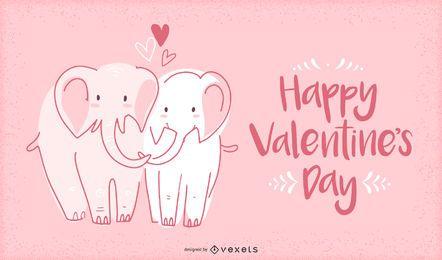 Ilustración de elefantes de San Valentín