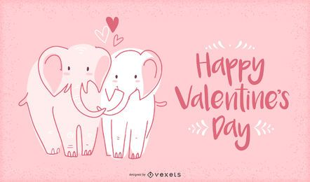 Valentine elephants illustration