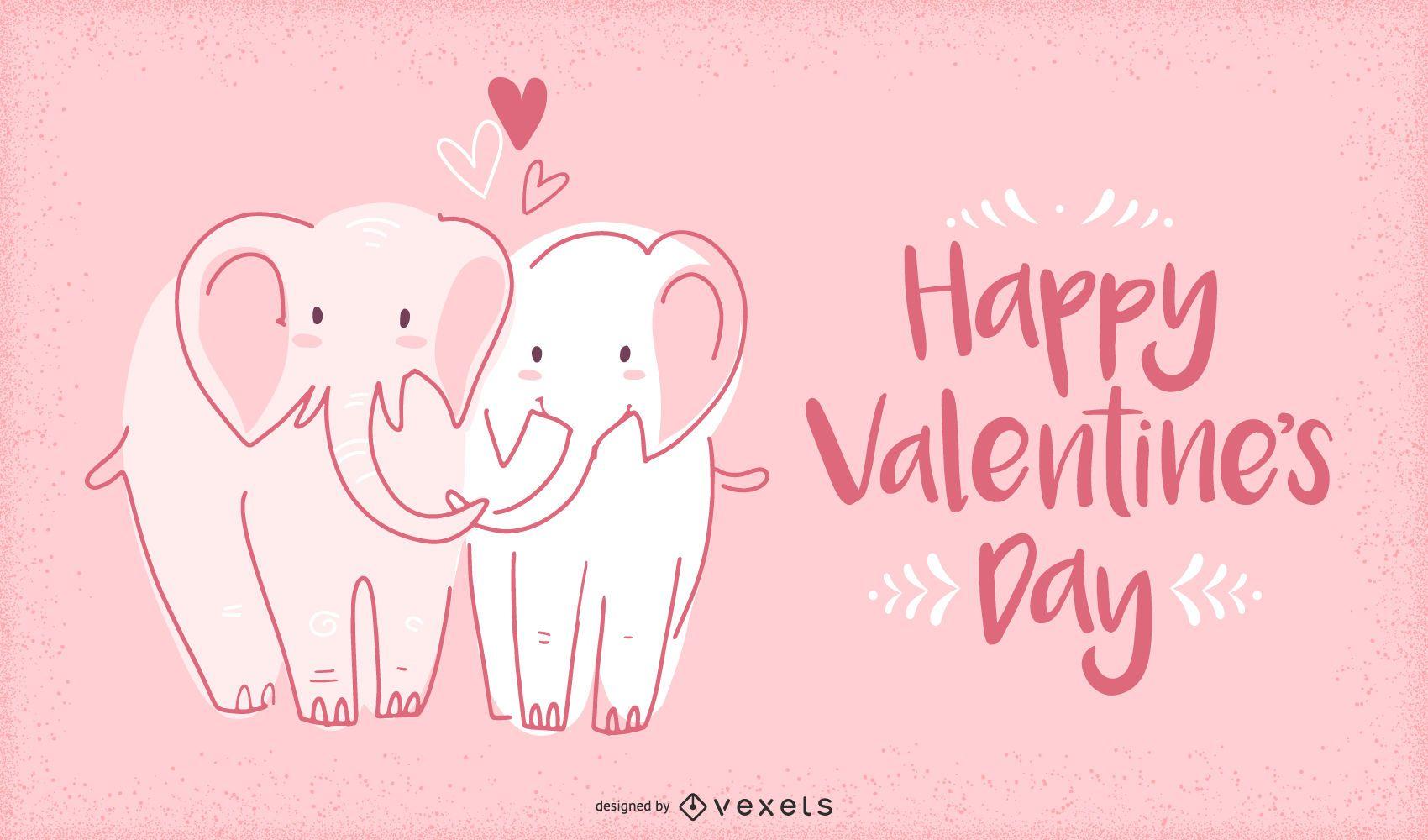 Valentine elephants illustration