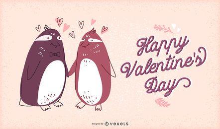 Ilustración de pingüinos de San Valentín