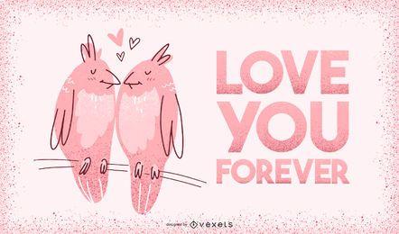 Lieben Sie Sie für immer Valentinsgrußillustration