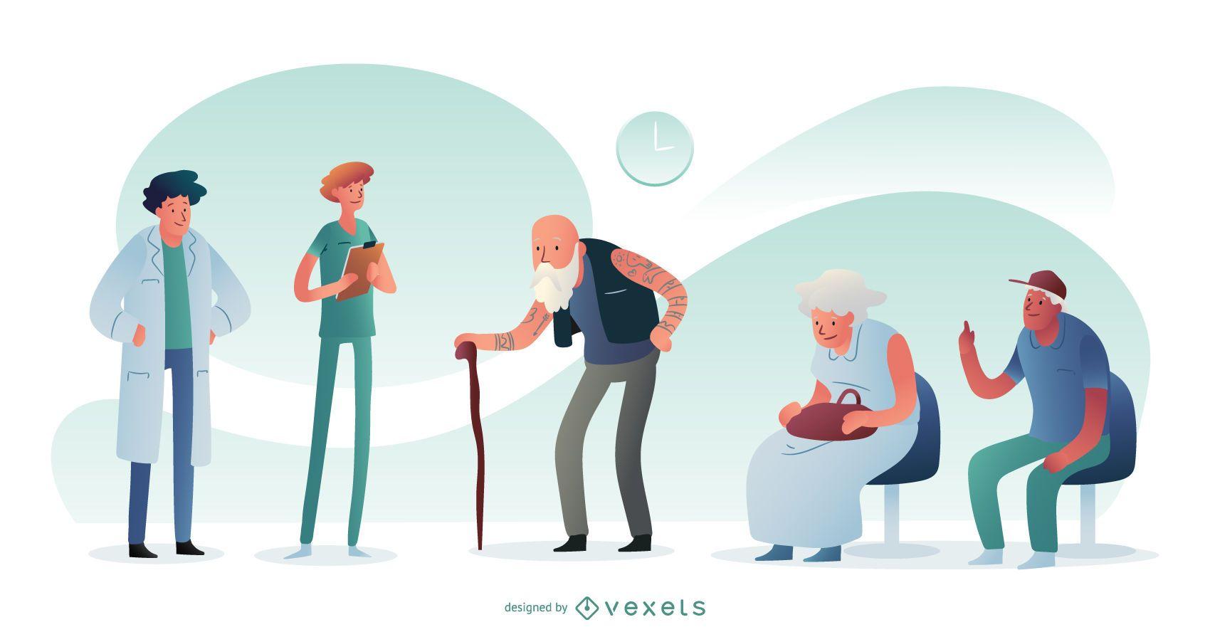 Composición gráfica de personas del hospital