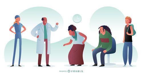 Krankenhausarzt und Patienten-Grafikdesign