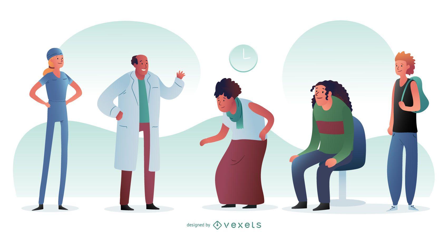 Diseño gráfico de médicos y pacientes del hospital
