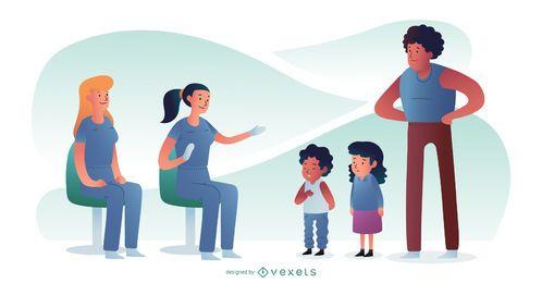 Médico pediatra com crianças Design