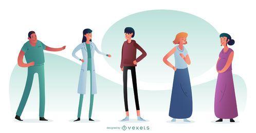 Composición de personajes de personas de hospital