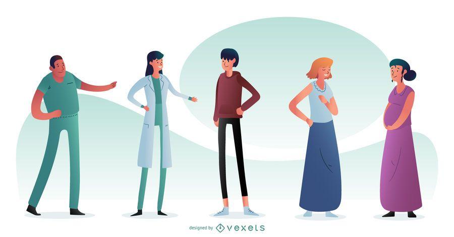 Composición de personajes de personas del hospital