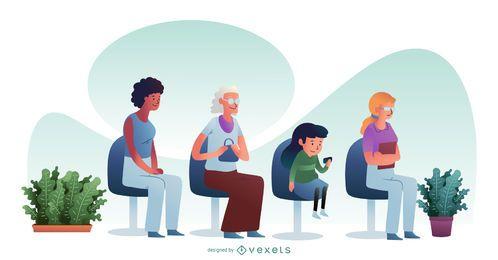 Personajes de pacientes en espera de hospital