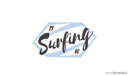 Design de logotipo de carimbo de surf