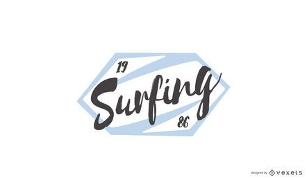 Diseño de logotipo de sello de surf