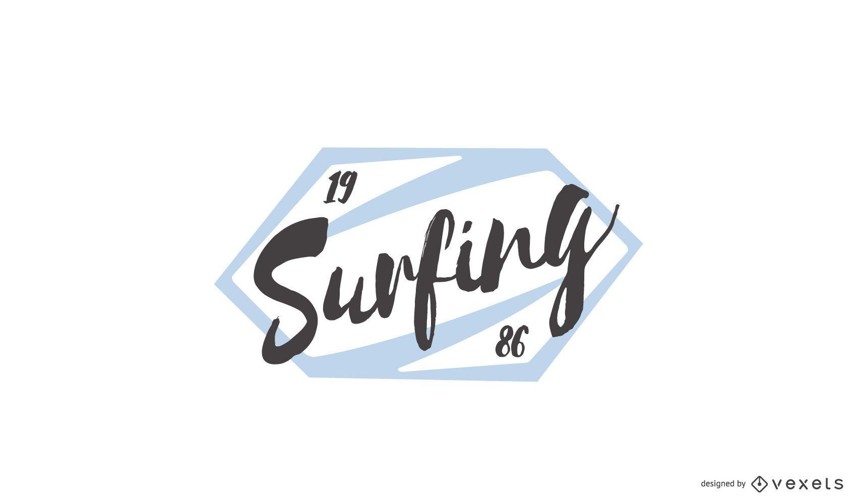 Surfing Stamp Logo Design