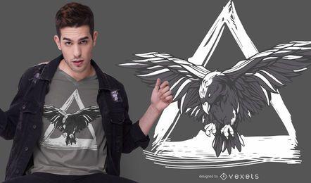 Diseño de camiseta de cuervo volador