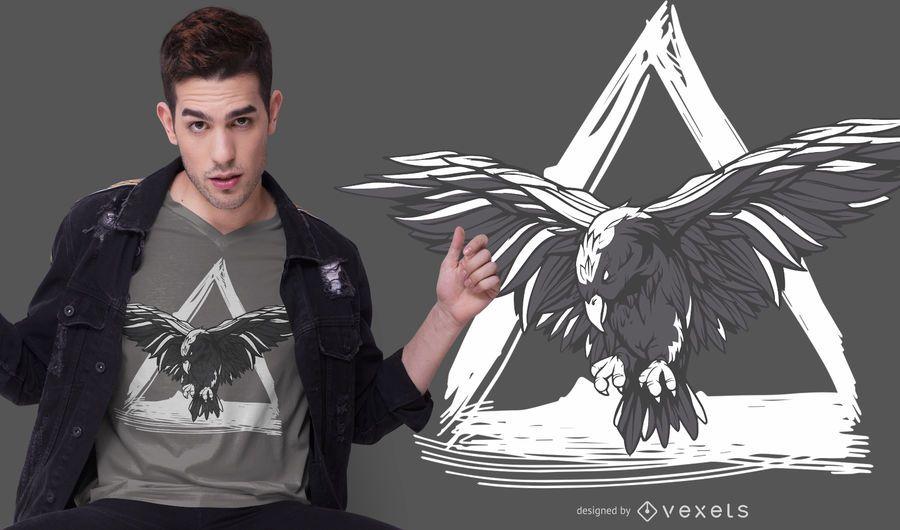 Diseño de camiseta de cuervo volando