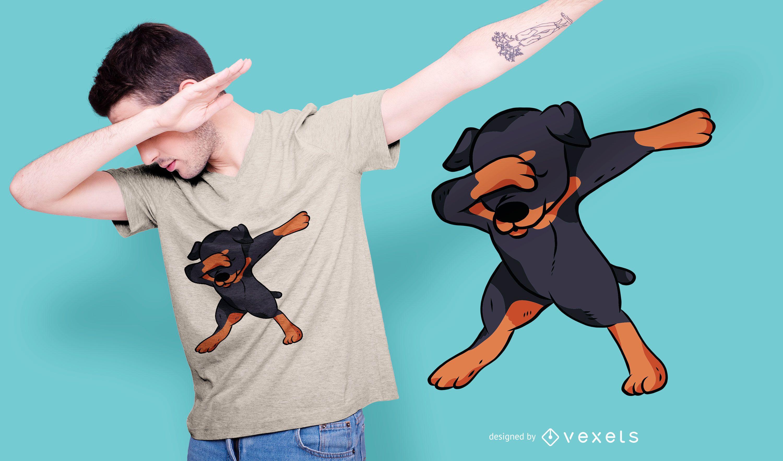 Diseño de camiseta de rottweiler dabbing