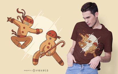 Diseño de camiseta de galletas de jengibre ninja