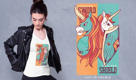Diseño de camiseta de espada y escudo de unicornios