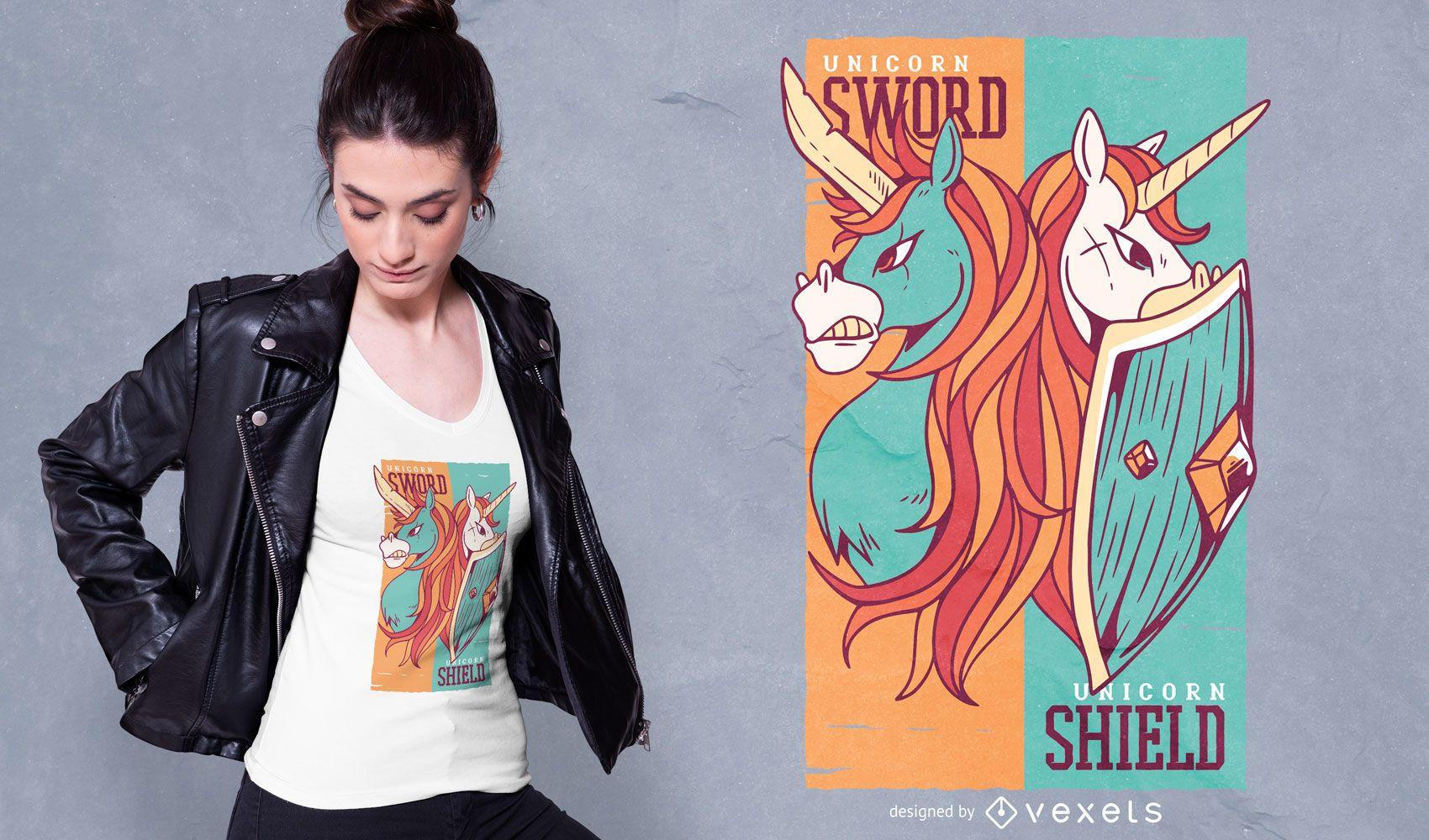 Unicorns sword and shield t-shirt design