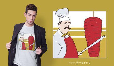 Diseño de camiseta de chef kebab
