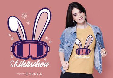 Diseño de camiseta alemana Ski Bunny