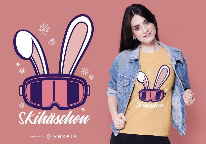 Design alemão do t-shirt do coelho do esqui