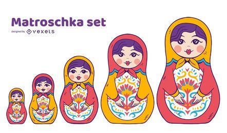 Conjunto de ilustración de muñecas Matryoshka