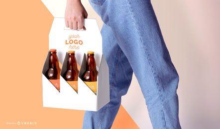 Modelo de maquete de embalagens de cerveja