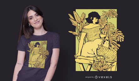 Design de camisetas para meninas e gatos