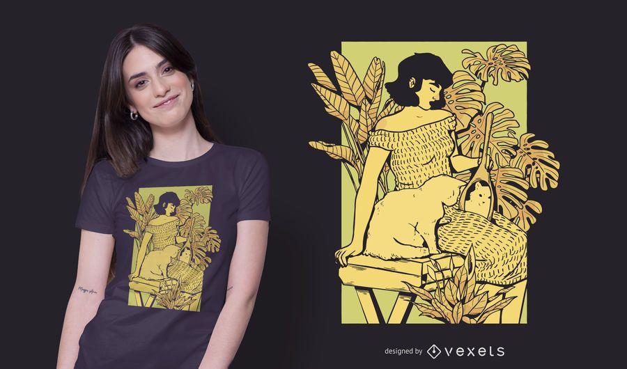 Girl and cat t-shirt design