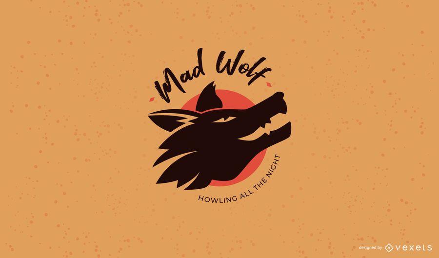 Modelo de logotipo de clube de lobo louco