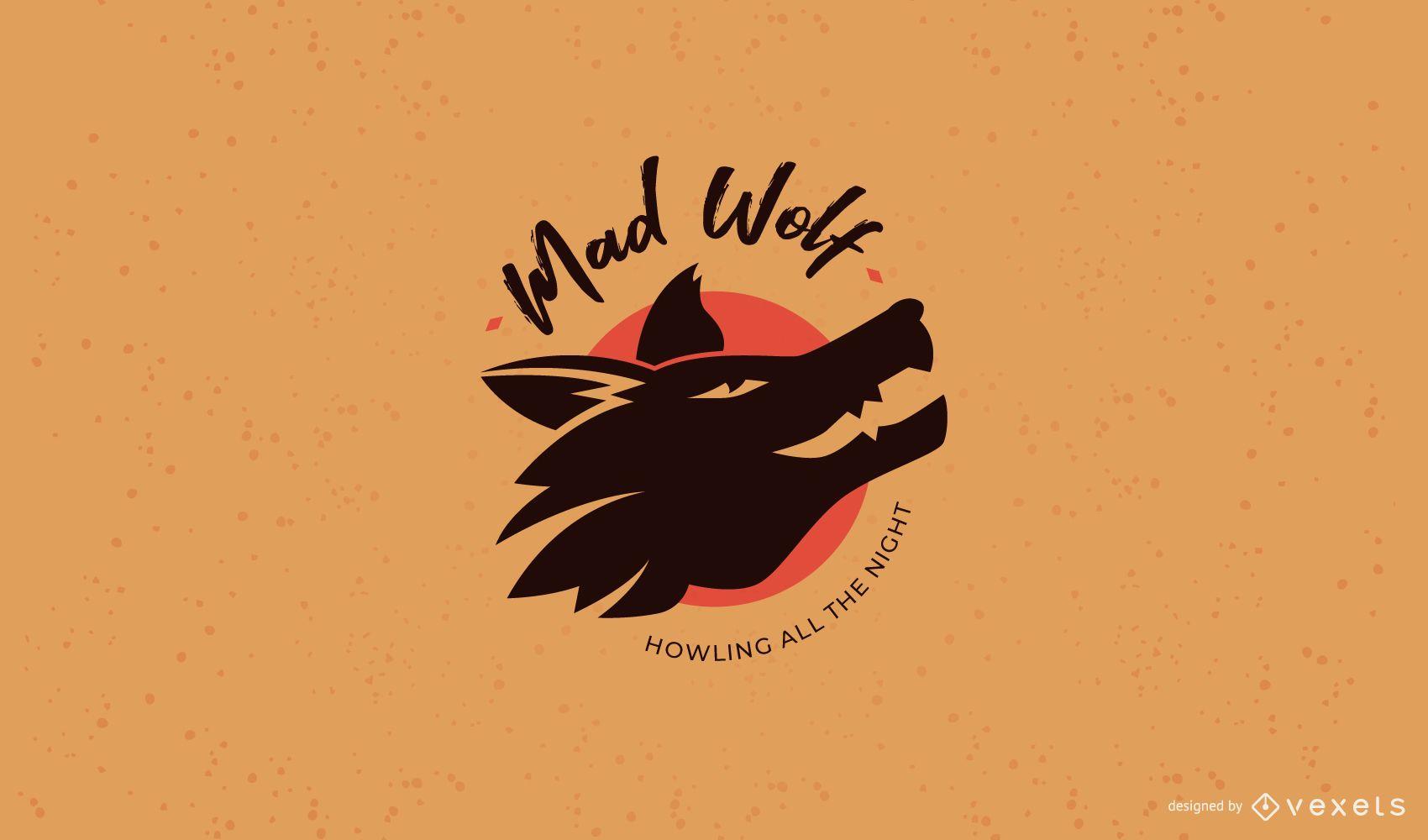 Modelo de logotipo do clube do lobo louco