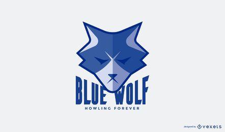 Blaue Wolf-Logo-Vorlage