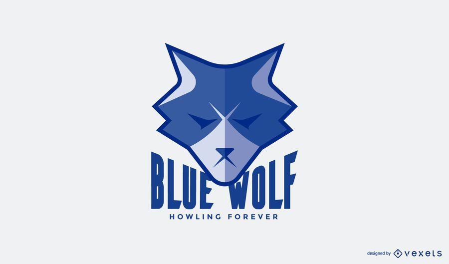 Modelo de logotipo de lobo azul