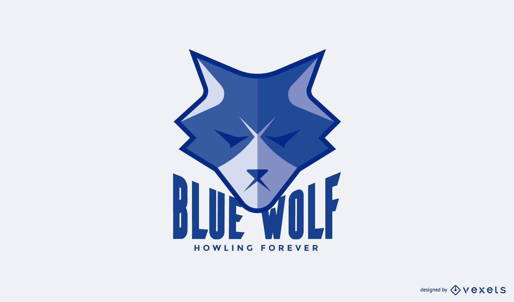 Modelo de logotipo do lobo azul