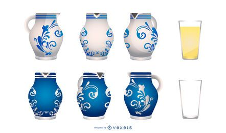 German Pottery Vase Design Set