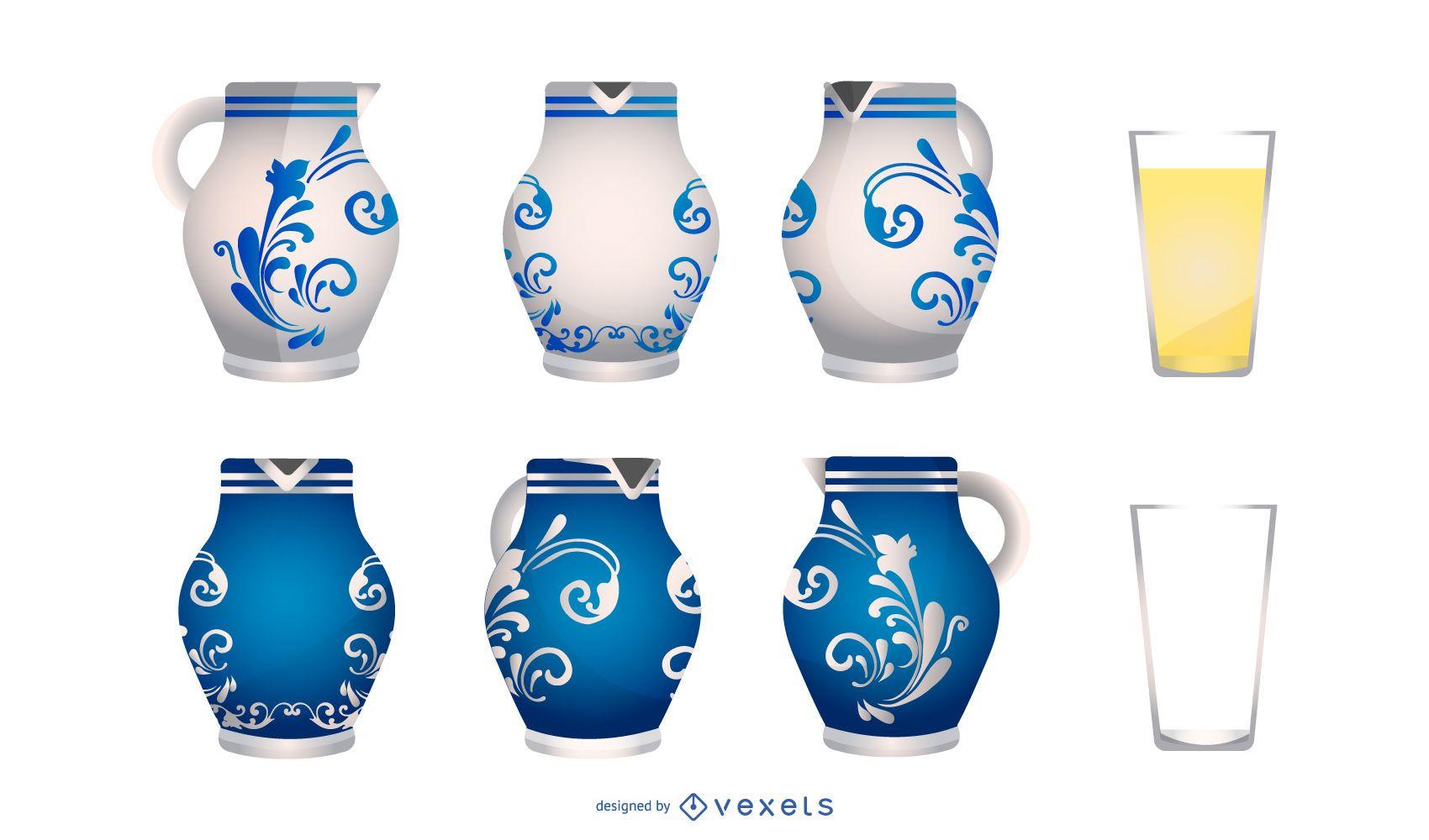 German Pottery Vase Design Set