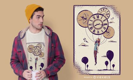 Abstract Clock Girl T-shirt Design