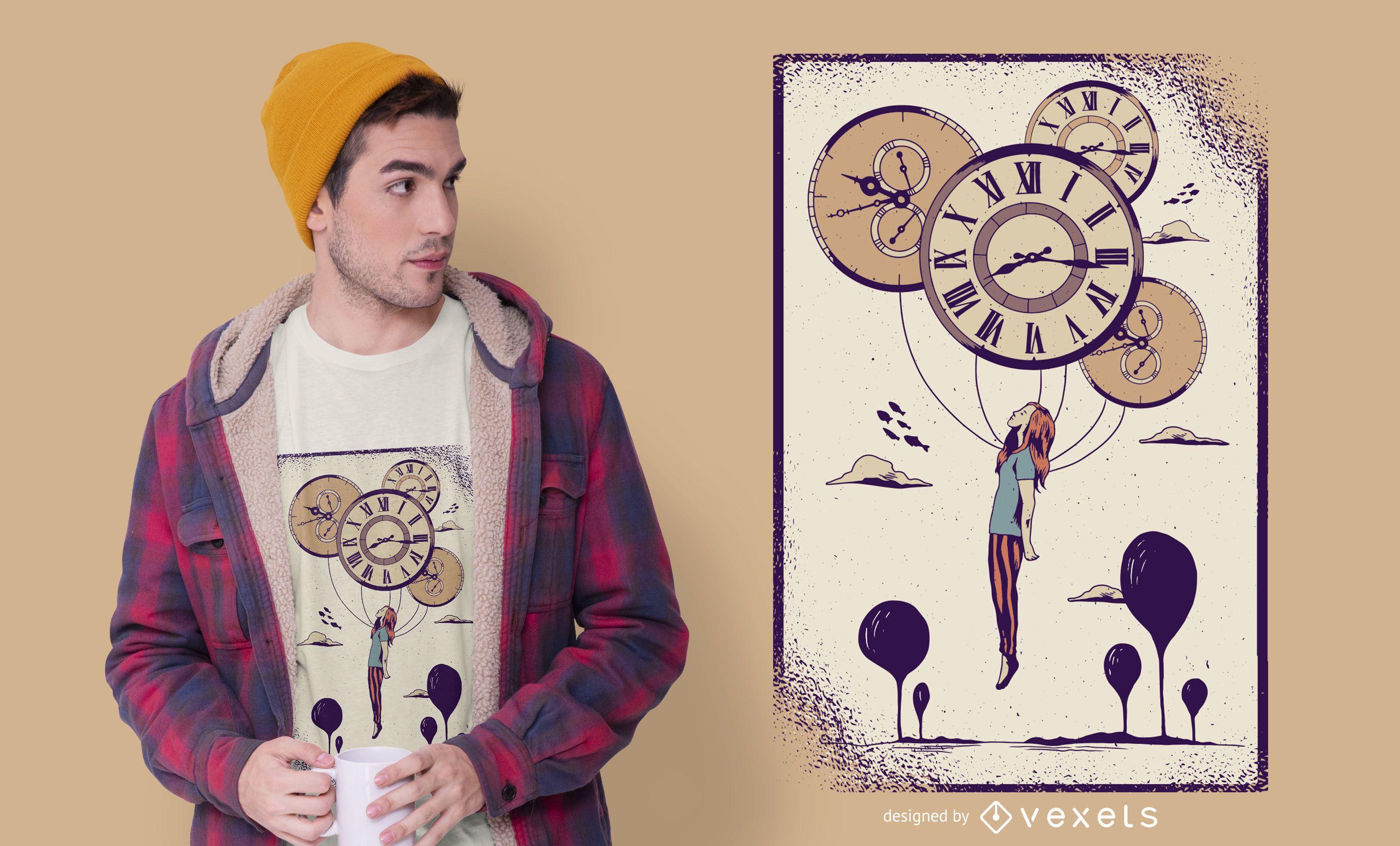 Abstract Clock Girl T-shirt Design