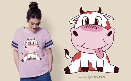Diseño lindo de la camiseta de la vaca del bebé
