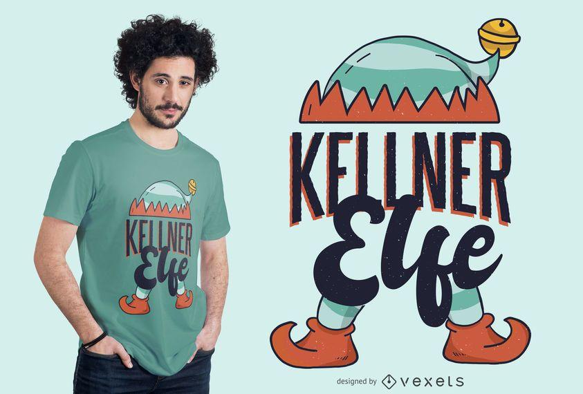 Diseño de camiseta Elf Waiter