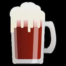Copo de espuma de cerveja escura plana