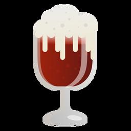 Vaso de cerveza de espuma oscura plana